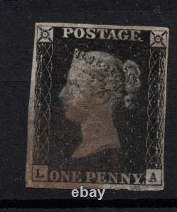 GB Qv 1840 1d Penny Black Avec 4 Marges Fines Utilisées Ws23184