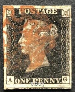 GB Qv 1840 Penny Black Ag Plate 8 Quatre Marges Avec Une Croix De Malte Rouge