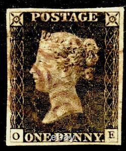 GB Qv 1840 Penny Black Oe Plate 2 Large 04 Marge Avec Glasgow Purple Mx! Rare