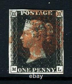 GB Qv 1840 Penny Black Plate 5 ML Croix-rouge Maltaise Sg 1 (as24 Spécialisé) Vfu