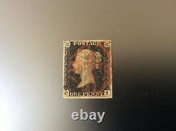GB Qv 1840 Penny Plaque Noire 2 Oblitérée Avec Croix De Malte Rouge