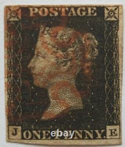 GB Qv 1840 Sg 2 1d Penny Black Plate 1b Je Quatre Marges Rouge MX