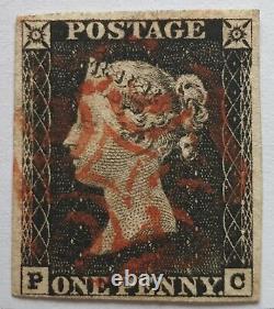 GB Qv 1840 Sg 2 1d Penny Black Plate 1b Pc Quatre Marges Rouge MX