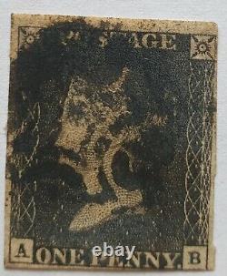 GB Qv 1840 Sg 2 1d Penny Black Plate 5 Ab Seulement 4 Marges Noires MX