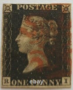 GB Qv 1840 Sg 2 1d Penny Black Plate 6 Ri Quatre Marges Rouge MX