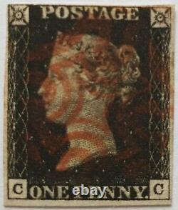 GB Qv 1840 Sg 2 1d Penny Black Plate 8 CC Quatre Marges Rouge MX