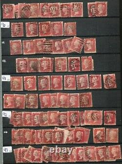 GB Qv 1858 1d Plaques Penny Rouge 1800 + Timbres Dans Les Plaques Stock Livre 71 -223