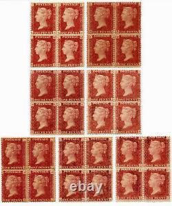 GB Qv Mint Blocks Penny Red Plate Numéros Quelques Non Montants. Chaque Prix