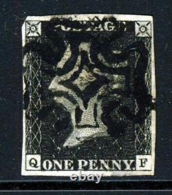 GB Qv Penny Black 1840 Plaque 2 Qf Black Maltese X Sg 1 (spécialisée As14) Vfu