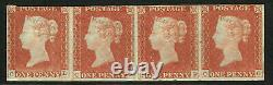 GB Qv Scarce 1841 Penny 1d Rouge Bande De Quatre (cd-cg) Timbres Mounted Mint