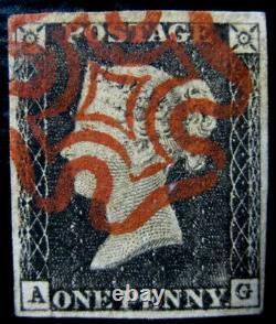 GB Qv Sg2 1d Penny Black Plate 1a Ag Très Fine Utilisée Avec Lovely Red MX