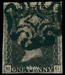 GB Qv Sg2 1d Penny Plaque Noire 11 Onze Mg Très Fine Utilisé Rare CV £4500+
