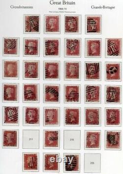 GB Qv Sg43 Penny Red Plate Collection 146 Différents Numéros De Plaque À Pl 224