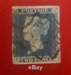 GB Reine Victoria Deux Penny Bleu Timbre Rare