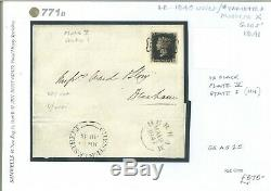 GB Sg. As25 Penny Black Plate V Etat I (nh) Couverture Chester Durham Glos 1841 771b