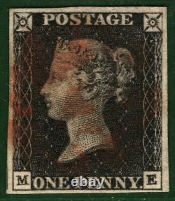 Go Penny Black Sg. 2 1840 1d Plaque 7 (me) Rouge MX Classic Timbre Cat £400+ Blred22