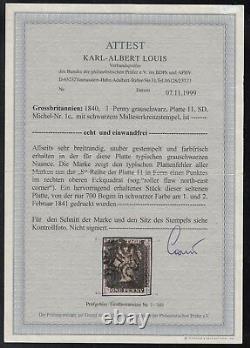 Gran Bretagna 1840 One Penny Black Plate 11 Utilisé Certificato K. Albert Louis