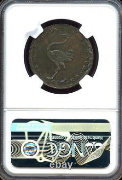 Grande Bretagne 1795 1/2 Penny Middlesex Pidcock Autruche/antilope Ngc Ms-62