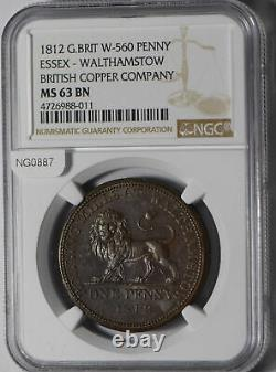 Grande Bretagne 1812 Penny Ngc Ms63 Bn Essex- Walthamstow W-560 British Copper Com