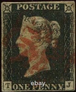 Grande Bretagne 1840 1d Penny Black'tj' Plate 3, 4 Margin, Thick Red Maltese X