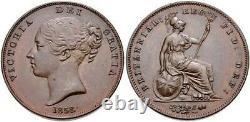 Grande Bretagne 1858 Penny Hanover Victoria Young Head Scbc3948 Ngc64 Bn