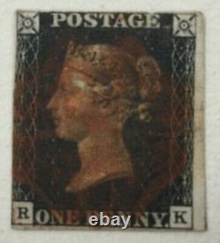 Grande-bretagne, #1, 1840 Penny Black. Utilisé. R/k, 3+ Marges, Rouge Annuler. Bjs