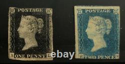Grande-bretagne 1 + 2 Menthe Très Nice No Gum Valeurs Penny Black, Blue Bd 505