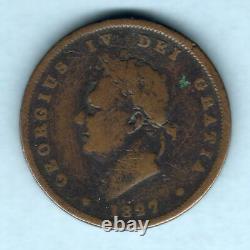 Grande-bretagne. 1827 George IV Penny. Date Rare. Af/vg