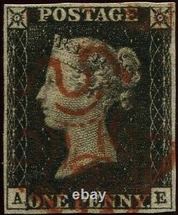 Grande-bretagne 1840 1d Penny Black'ae' Assiette 9. 4 Marge. Croix-rouge De Malte