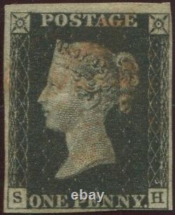 Grande-bretagne 1840 1d Penny Black'sh' Plate 7. 4 Marges. Croix-rouge Maltaise