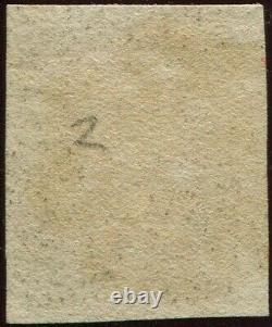 Grande-bretagne 1840 Penny 1d Black'bk ' 4 Marge. Plate 2. Épais Rouge MX Annuler