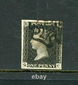 Grande-bretagne 1840 Penny Black Plate 8, 4-margins Finement Utilisés (p1242)