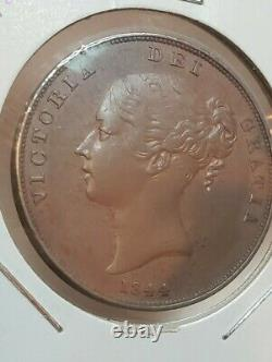 Grande-bretagne 1844 One Penny Coin Victoria Ex Haute Qualité Rare Wow
