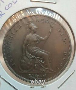 Grande-bretagne 1851 One Penny Coin Def- Victoria Ex Haute Qualité Rare