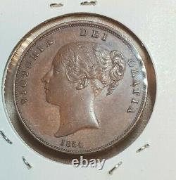 Grande-bretagne 1854 One Penny Coin Pt Victoria Haute Grade Rare Nice
