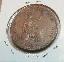 Grande-bretagne 1858 One Penny Coin Victoria Ex High Grade Wow