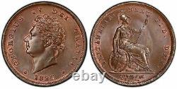 Grande-bretagne George IV 1826 Cu Penny. Pcgs Ms65bn Km 693 Scbc-3823