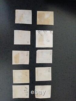 Grande-bretagne Penny Noir Victoria 1840 Utilisé Lot De 10 Avec Des Marges Pas De Réserve