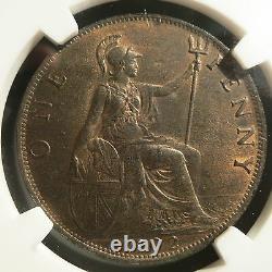 Grande-bretagne Royaume-uni Angleterre 1 Penny 1902 Ngc Ms 63 Bn Unc