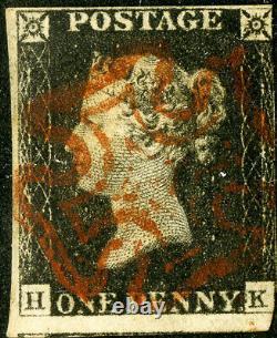 Grande-bretagne Timbres # 1 Utilisé Penny Noir Scott Catalogue 100,00 $
