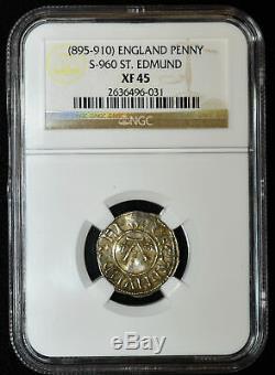 Grande-bretagne-est Anglia 1d Penny 895-910 Ef45 Argent Ngc St. Edmund Bosecin