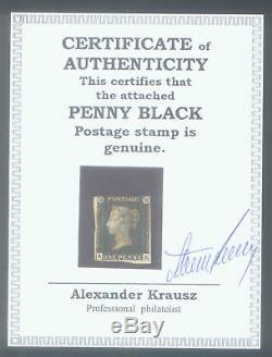 Le Premier Timbre Penny Noir Encase Avec Certificat D'authenticité Authentique