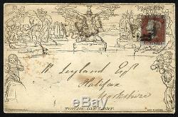 Mulready 1842 Une Lettre Penny Feuille Avec Imprimé Bleu Annonce D'assurance-vie