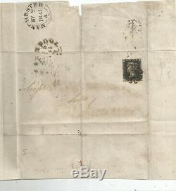 Penny 4 Marge Noire (gd) Envoyé À Manchester Le 9 Mai 1841