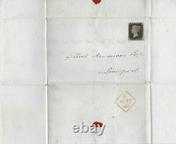 Penny Black De Timbre Qv 1d Sur L'emballage, 3+ Marges, Croix De Malte Rouge, Grande Pièce