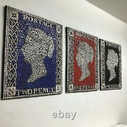 Penny Black, Rouge Et Bleu Ensemble De Trois Mosaic Stamp Design Art