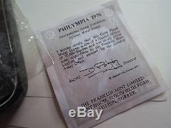 Philympia Londres 1970 Plaqué Or Timbre Frais De Ports One Penny Avec Coa Et Box