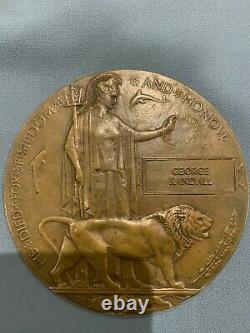 Plaque Commémorative Britannique Ww1 Plaque De Mort Penny Randall
