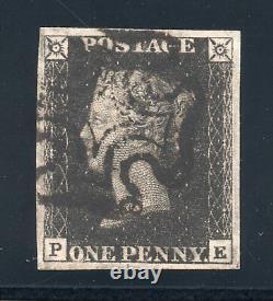 Plaque Qv 1840 Penny Noir Sg 2 9 (p E) 4 De La Marge De Croix De Malte Noir Pmk