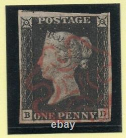 Qv 1840 Sg2 Penny Plaque Noire 2 (b D) Avec 4 Grandes Marges Et Super Rouge M X